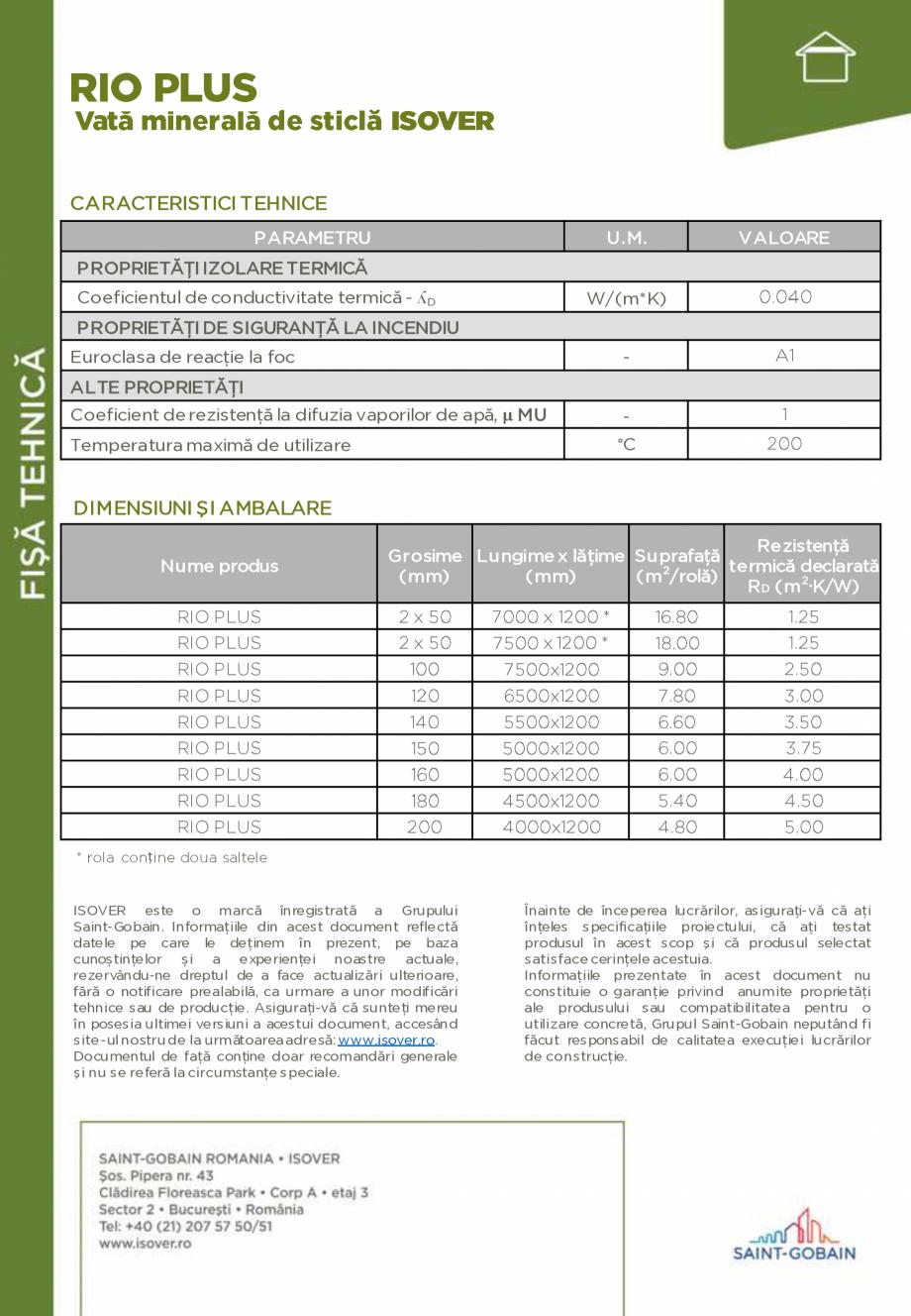 Pagina 2 - Saltele de vata minerala de sticla ISOVER RIO PLUS Fisa tehnica Romana , nu conține...