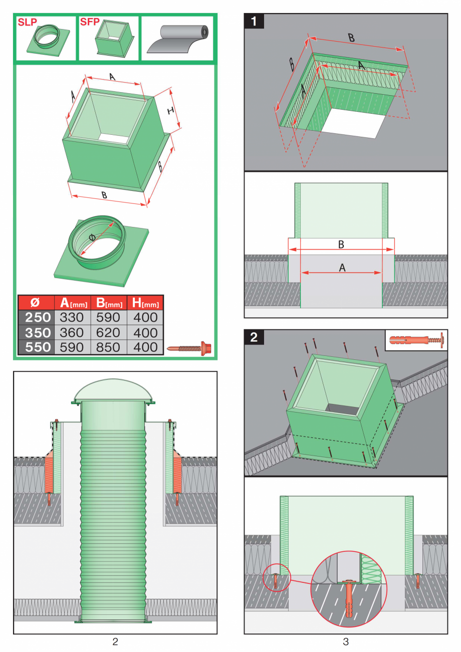Pagina 2 - Instructiuni montaj pentru tunele de lumina  FAKRO SLT, SRT Instructiuni montaj,...