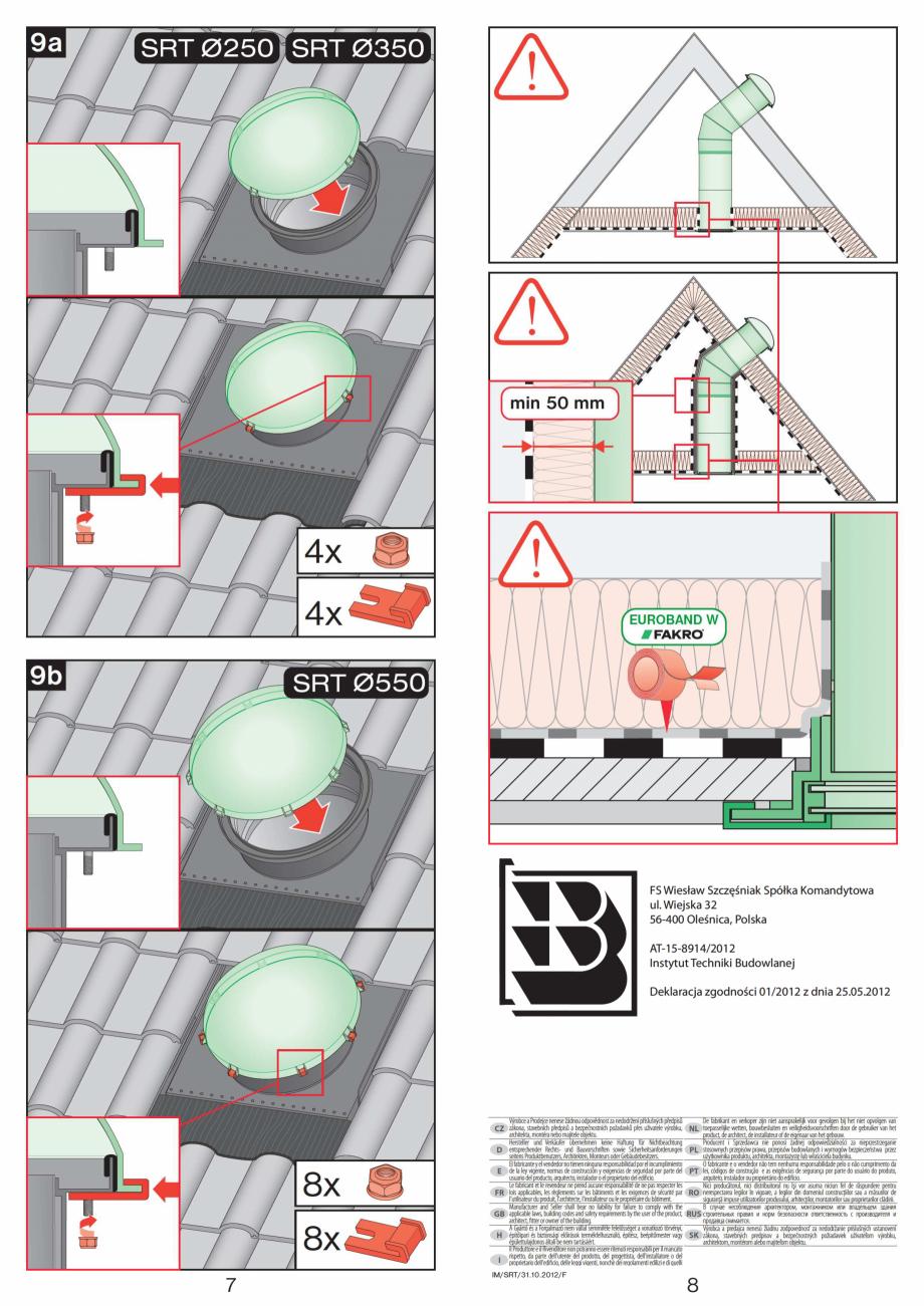 Pagina 4 - Instructiuni montaj pentru tunele de lumina - diametre 250,350,550 mm FAKRO SRT...