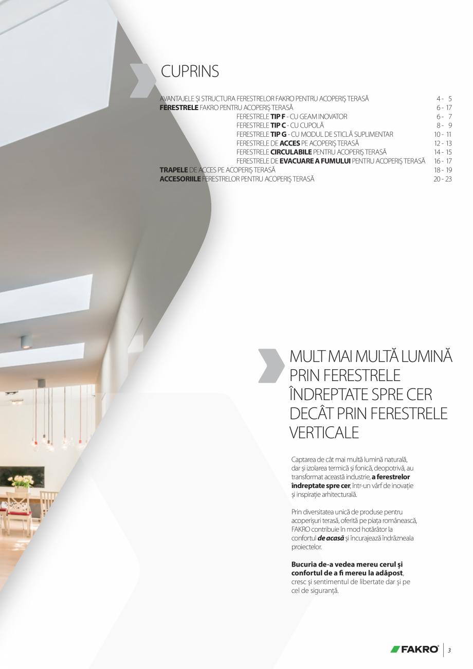Pagina 3 - Lista de preturi ferestre pentru acoperis terasa FAKRO Catalog, brosura Romana t ce face ...