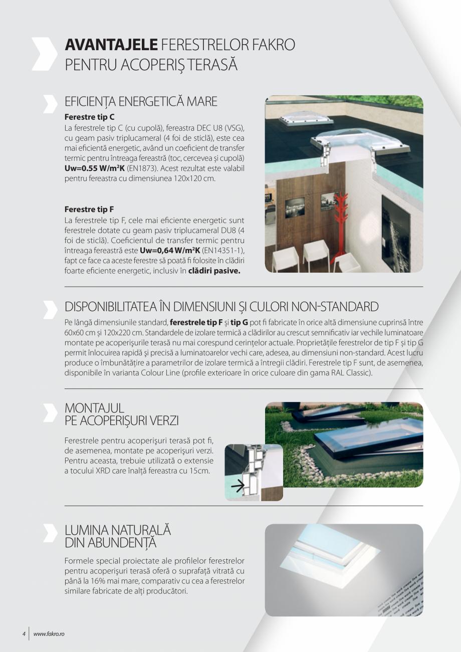 Pagina 4 - Lista de preturi ferestre pentru acoperis terasa FAKRO Catalog, brosura Romana ntru...