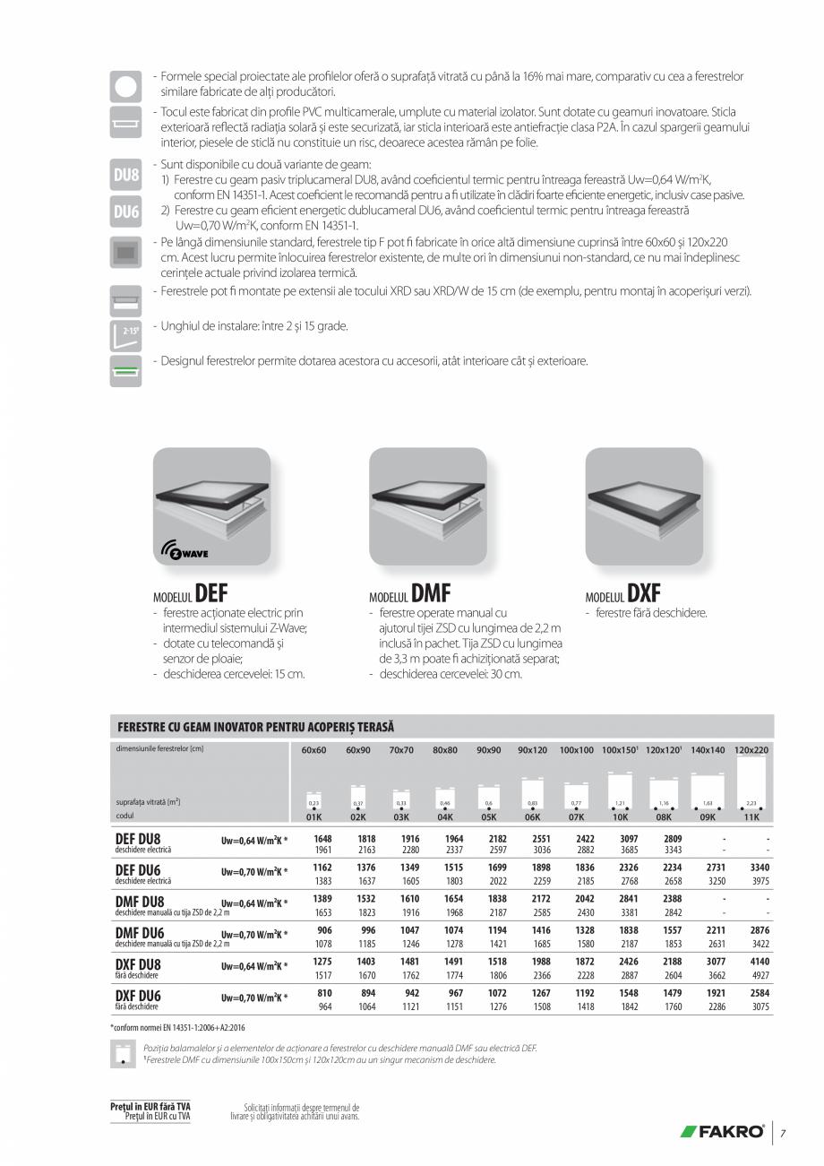 Pagina 7 - Lista de preturi ferestre pentru acoperis terasa FAKRO Catalog, brosura Romana nform EN...