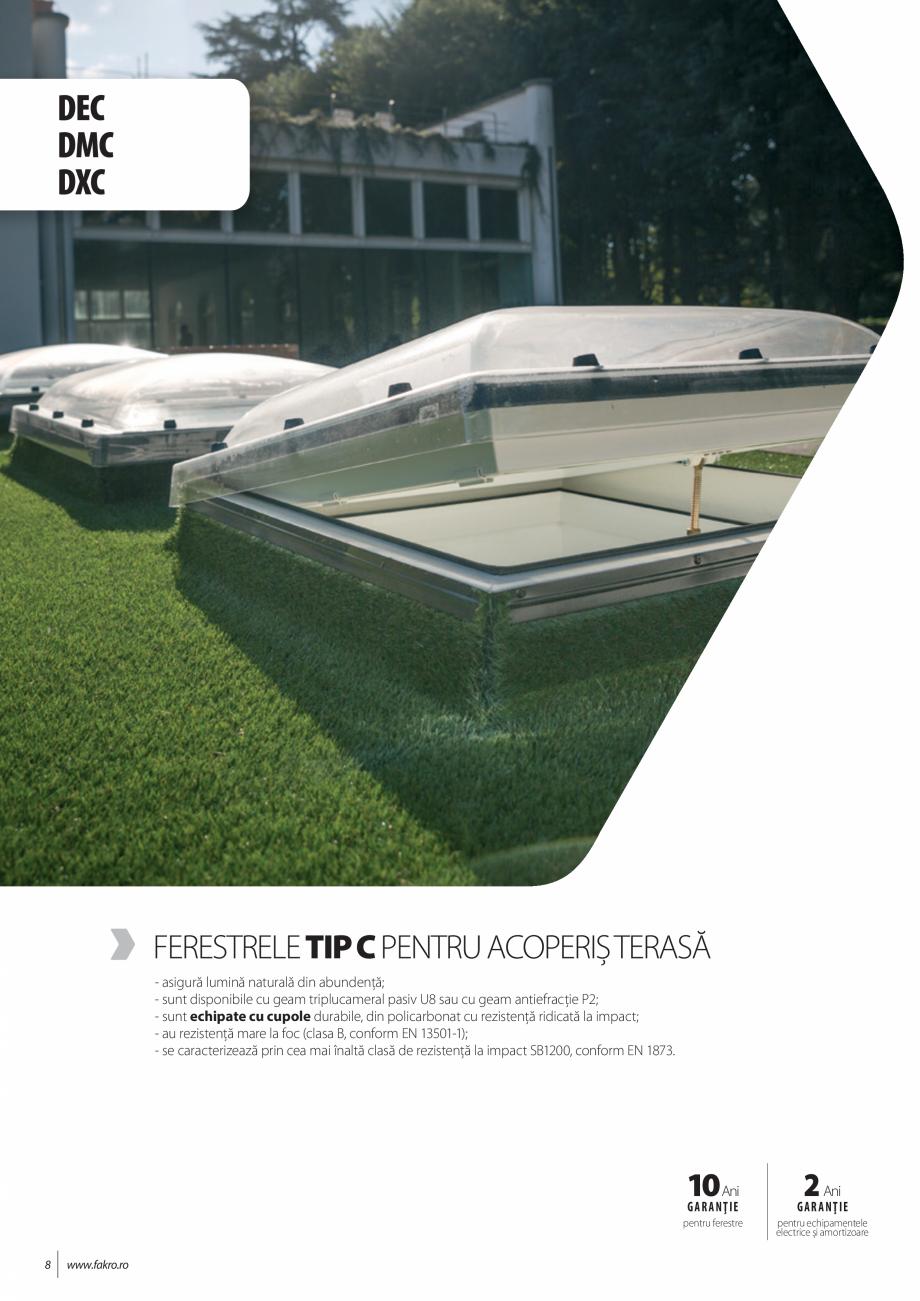 Pagina 8 - Lista de preturi ferestre pentru acoperis terasa FAKRO Catalog, brosura Romana e sticlă ...