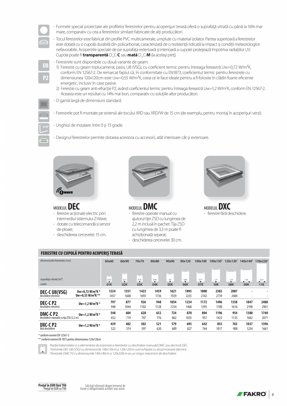 Pagina 9 - Lista de preturi ferestre pentru acoperis terasa FAKRO Catalog, brosura Romana  15 grade....