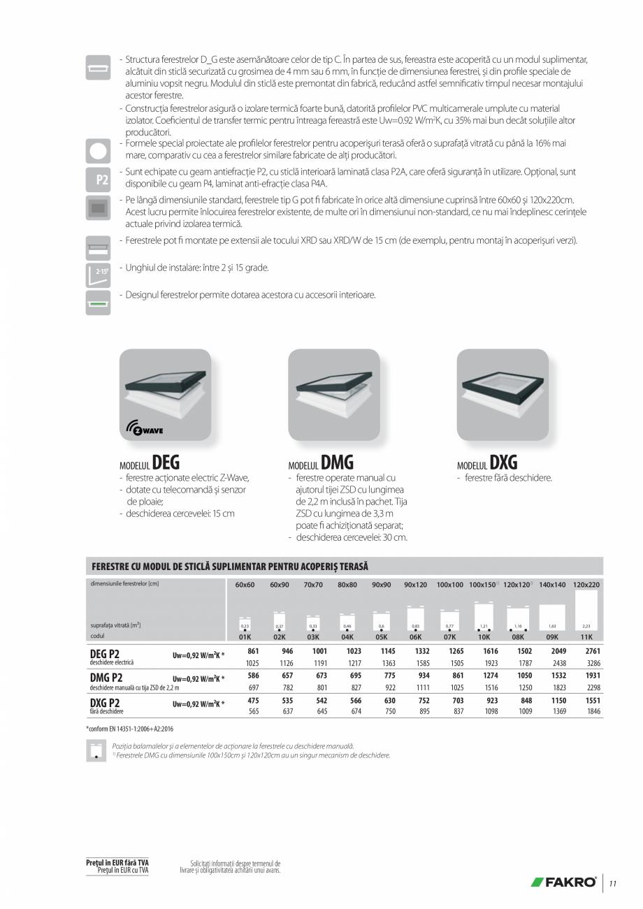 Pagina 11 - Lista de preturi ferestre pentru acoperis terasa FAKRO Catalog, brosura Romana � DEF. 1 ...