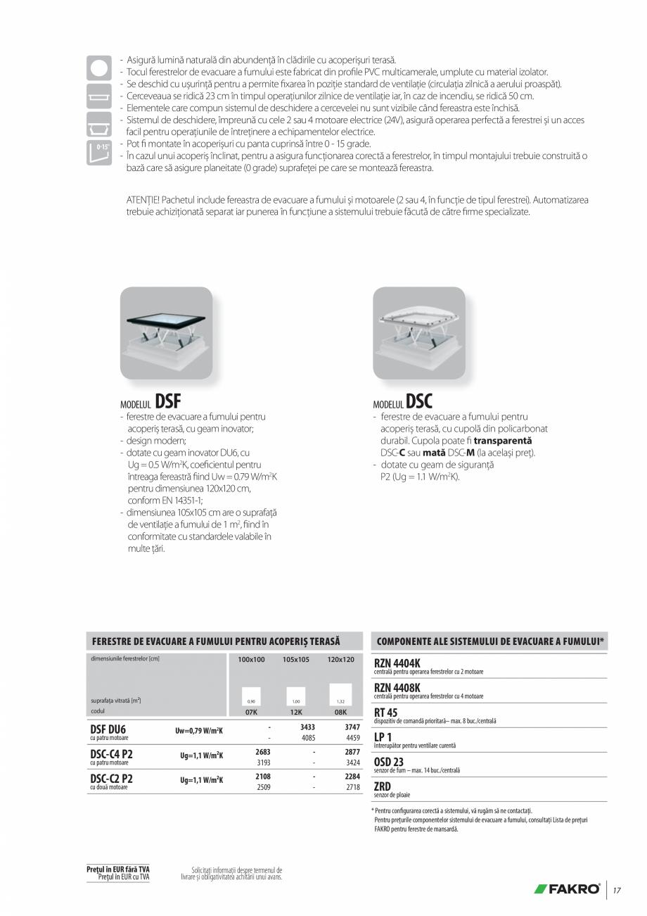 Pagina 17 - Lista de preturi ferestre pentru acoperis terasa FAKRO Catalog, brosura Romana u cea a...