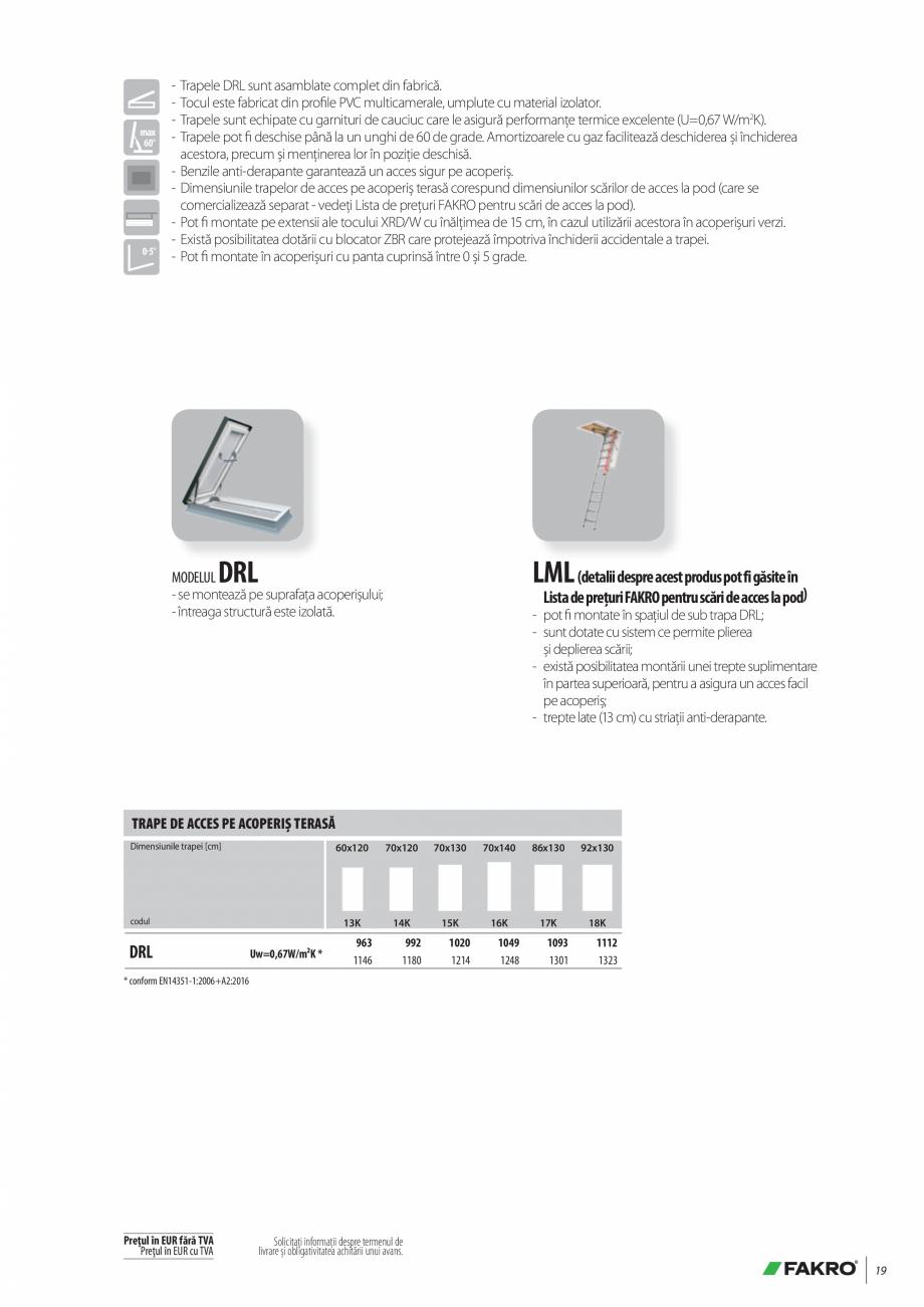 Pagina 19 - Lista de preturi ferestre pentru acoperis terasa FAKRO Catalog, brosura Romana ,92...