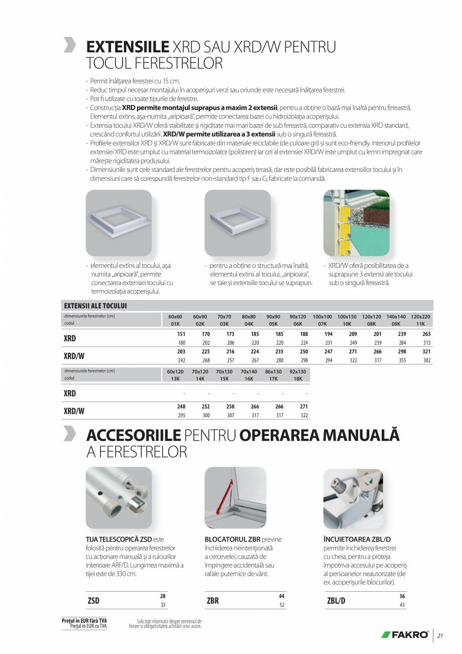 Pagina 21 - Lista de preturi ferestre pentru acoperis terasa FAKRO Catalog, brosura Romana onform...