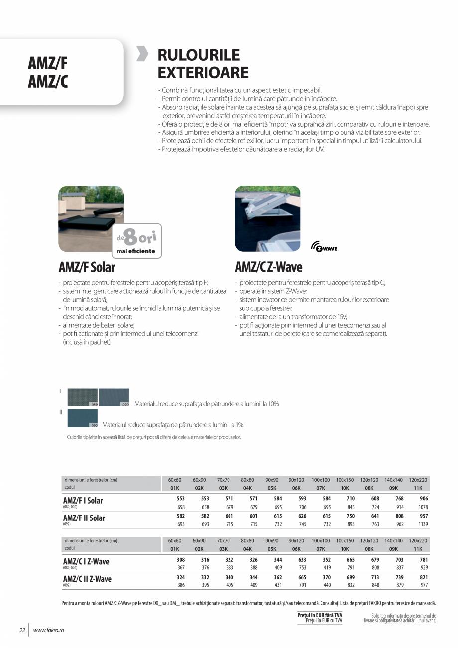 Pagina 22 - Lista de preturi ferestre pentru acoperis terasa FAKRO Catalog, brosura Romana RC-C P2...