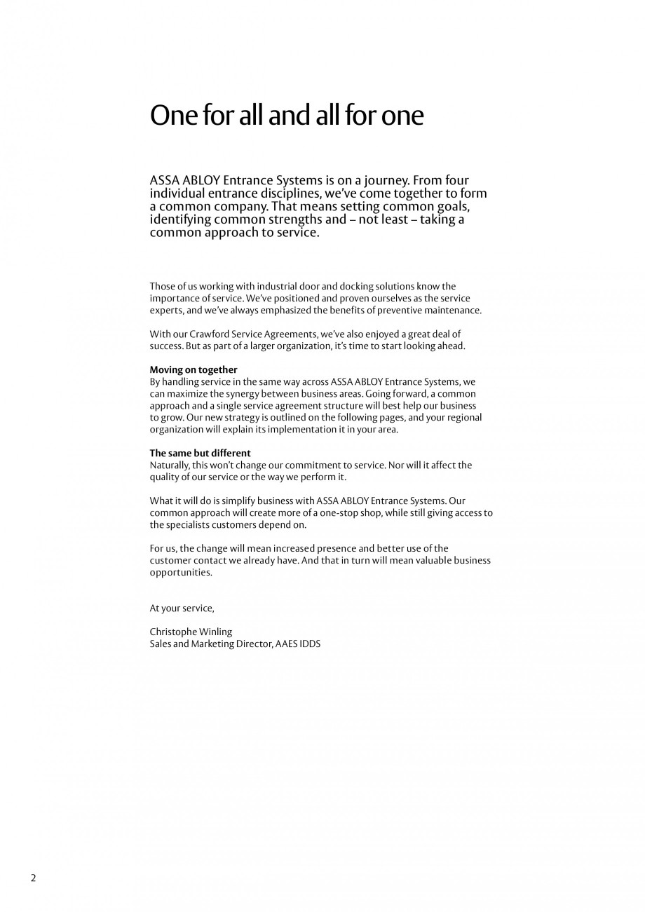 Pagina 2 - Servicii Assa Abloy Entrance Systems  Catalog, brosura Engleza ined on the following...