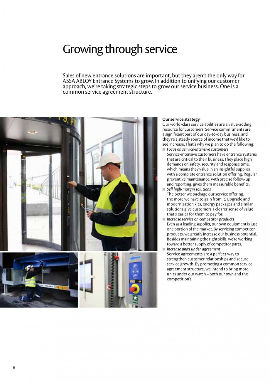 Pagina 6 - Servicii Assa Abloy Entrance Systems  Catalog, brosura Engleza to grow. In addition to...