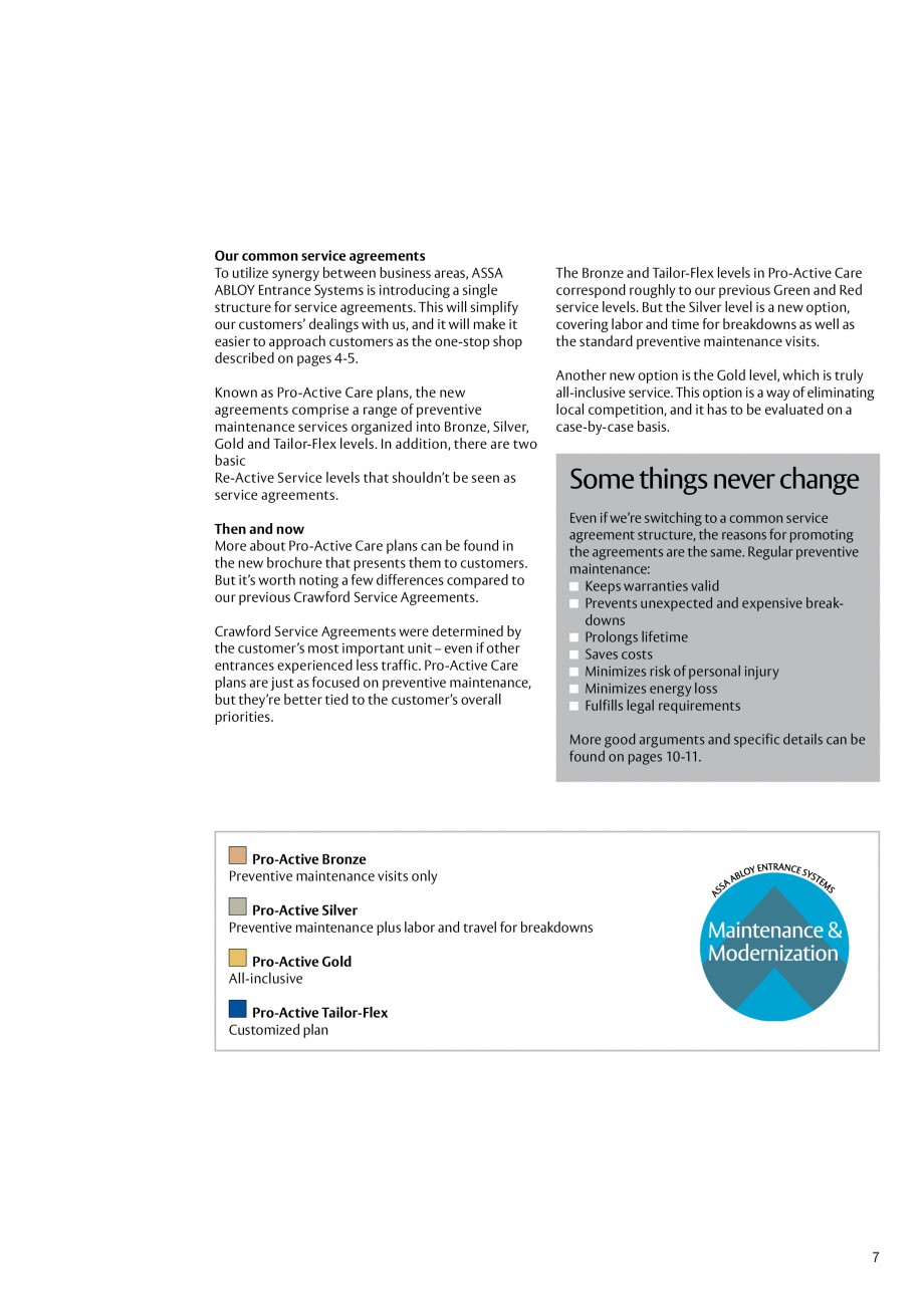 Pagina 7 - Servicii Assa Abloy Entrance Systems  Catalog, brosura Engleza  similar solutions give...