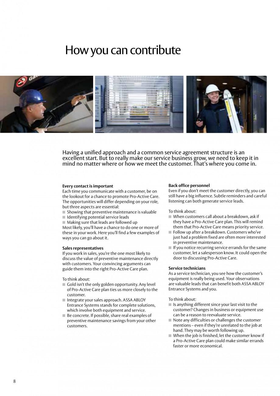 Pagina 8 - Servicii Assa Abloy Entrance Systems  Catalog, brosura Engleza ro-Active Care plans, the ...