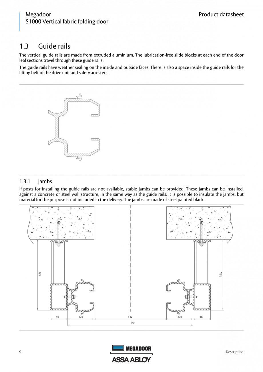 Pagina 9 - Usa industriala ASSA ABLOY Megadoor S1000 Fisa tehnica Engleza .............................