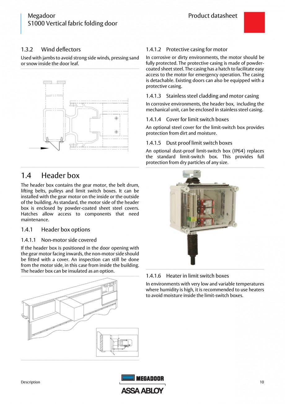 Pagina 10 - Usa industriala ASSA ABLOY Megadoor S1000 Fisa tehnica Engleza ............................