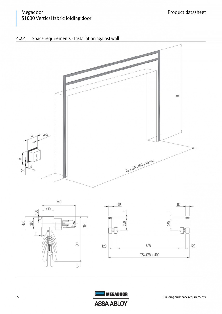 Fisa tehnica Usa industriala Megadoor S1000 ASSA ABLOY Usi industriale ASSA ABLOY Entrance Systems  S1000 Vertical fabric folding door  Product datasheet  Warning lights - Red  Automatic closing A... - Pagina 27
