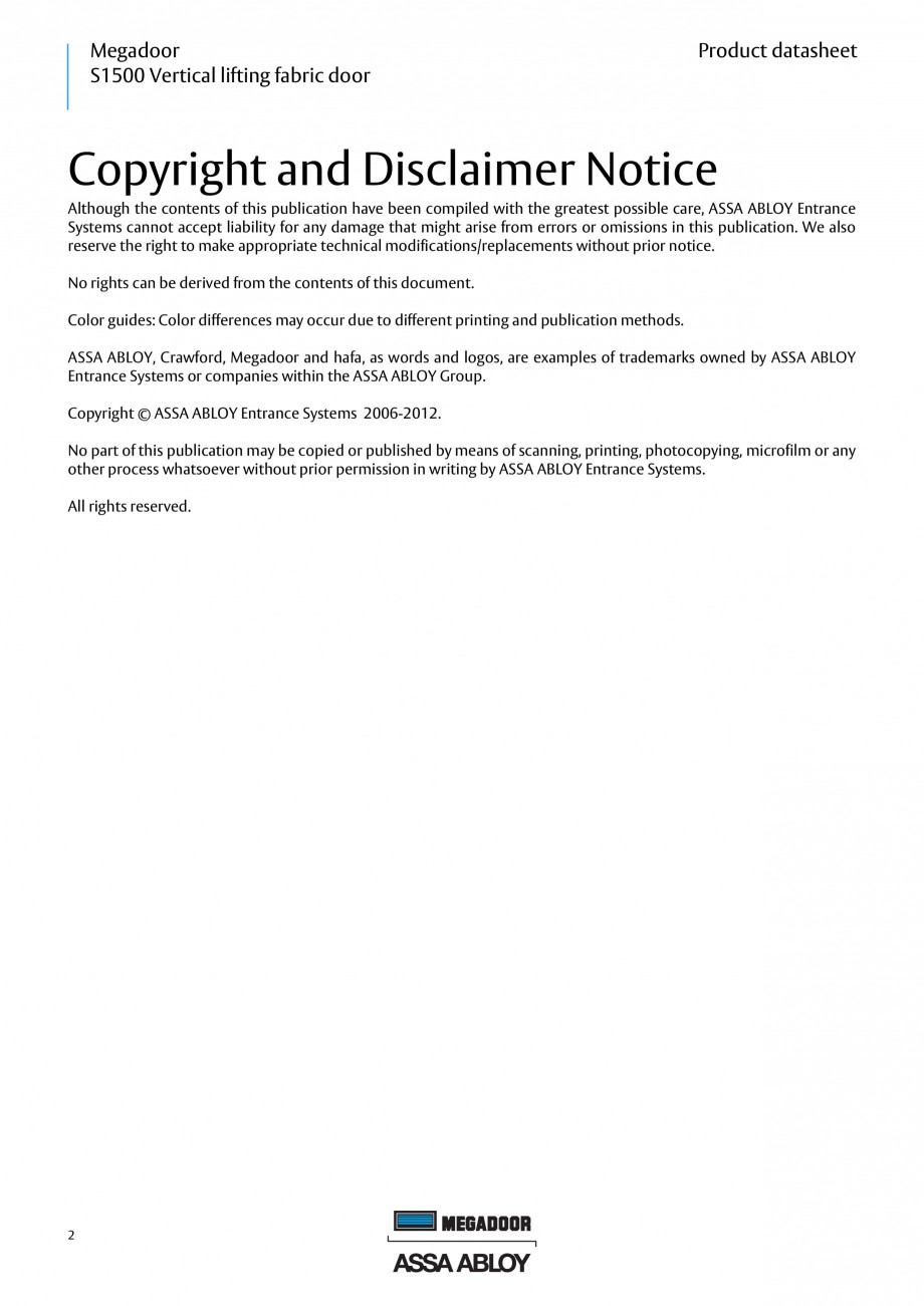 Pagina 1 - Usa industriala ASSA ABLOY Megadoor S1500 Fisa tehnica Engleza Megadoor S1500 Vertical...