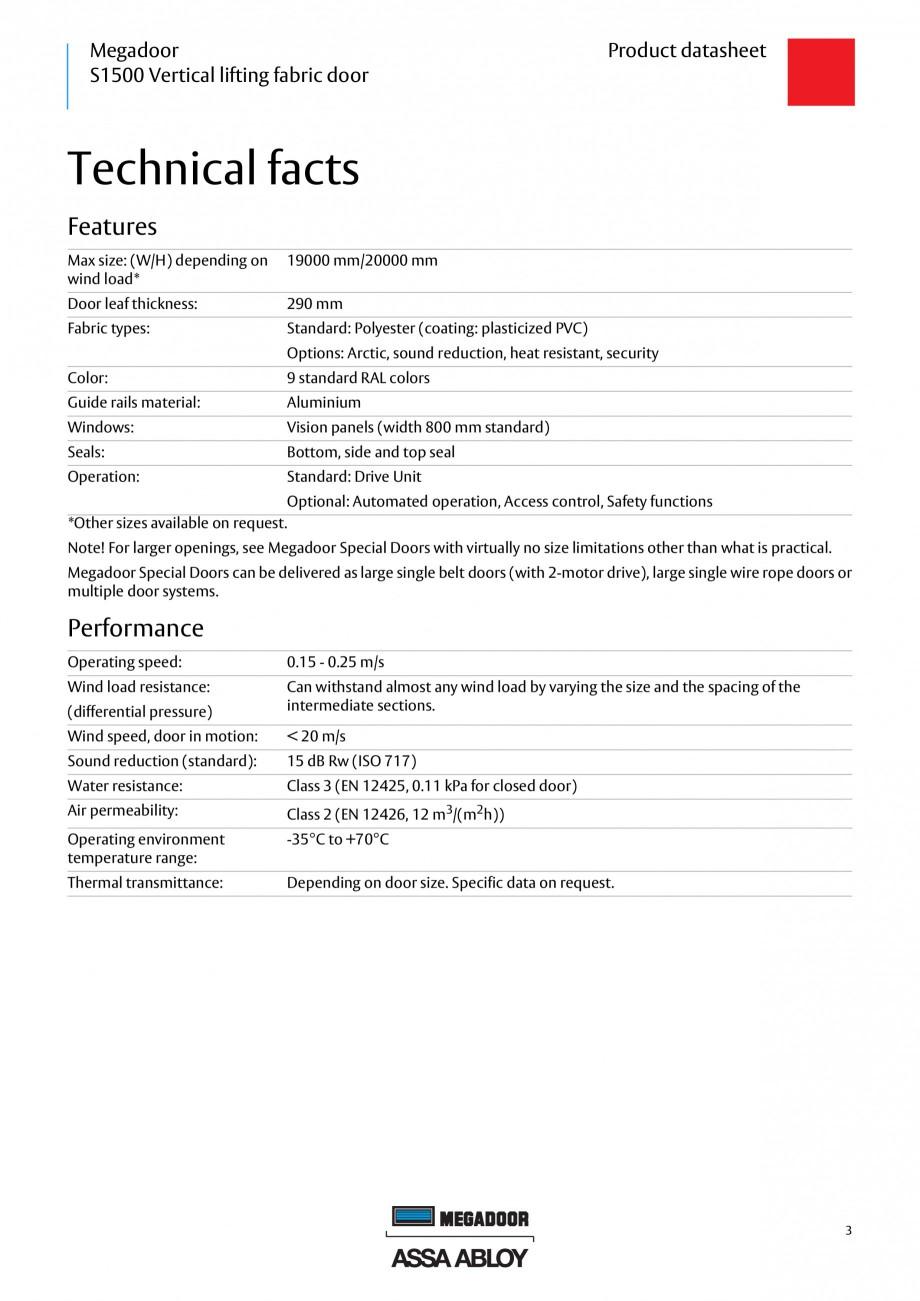 Pagina 2 - Usa industriala ASSA ABLOY Megadoor S1500 Fisa tehnica Engleza anning, printing,...