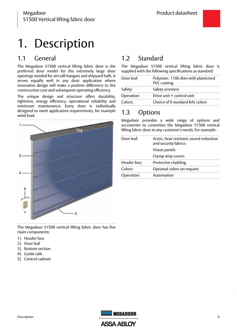 Pagina 5 - Usa industriala ASSA ABLOY Megadoor S1500 Fisa tehnica Engleza ding preparations ...........