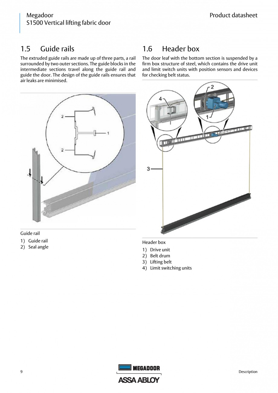 Pagina 8 - Usa industriala ASSA ABLOY Megadoor S1500 Fisa tehnica Engleza .............................