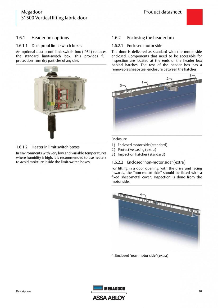 Pagina 9 - Usa industriala ASSA ABLOY Megadoor S1500 Fisa tehnica Engleza .............................