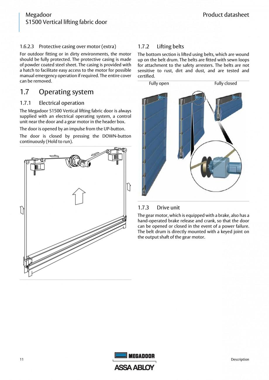Pagina 11 - Usa industriala ASSA ABLOY Megadoor S1500 Fisa tehnica Engleza ............................