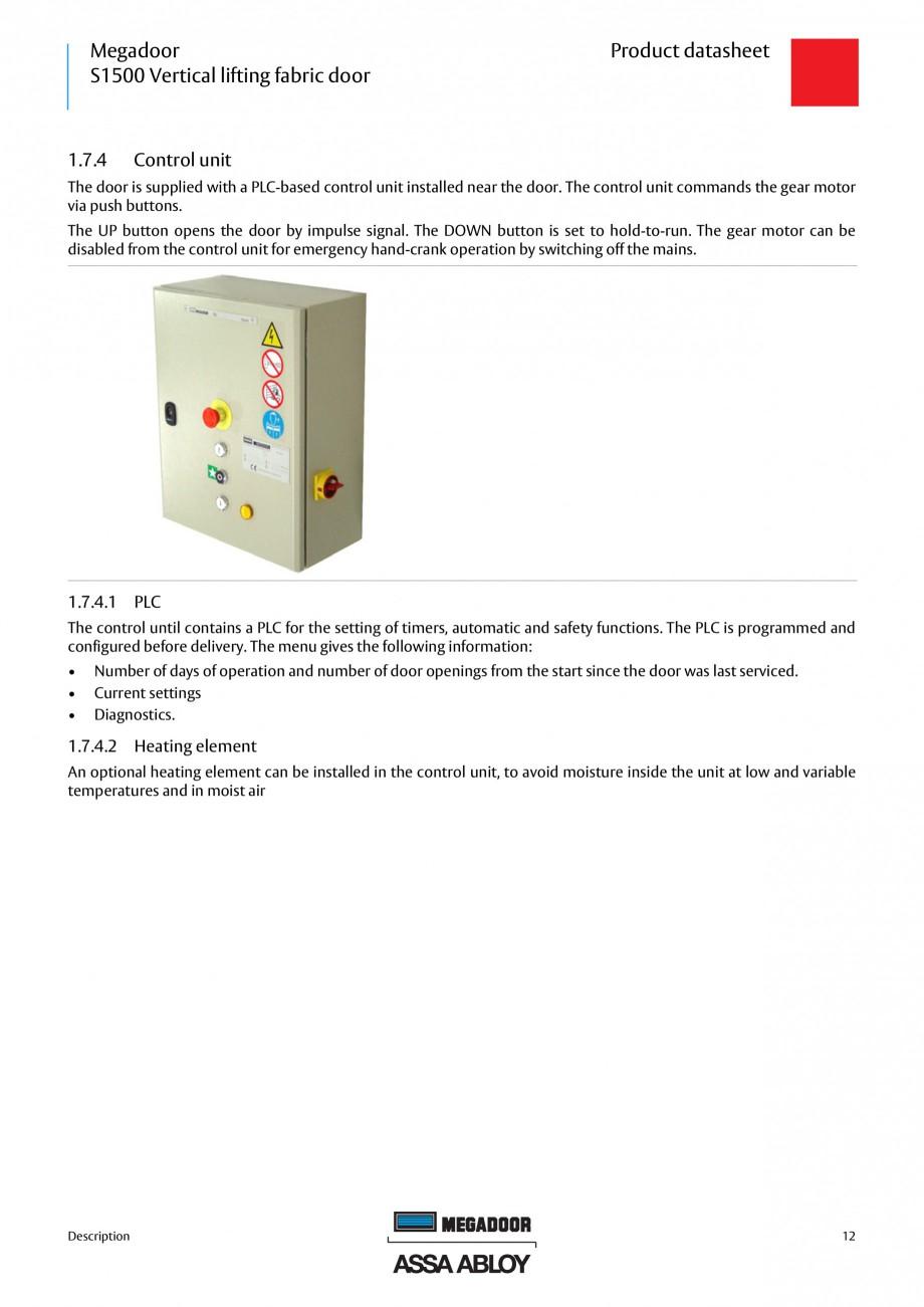 Pagina 12 - Usa industriala ASSA ABLOY Megadoor S1500 Fisa tehnica Engleza or guide rails .............