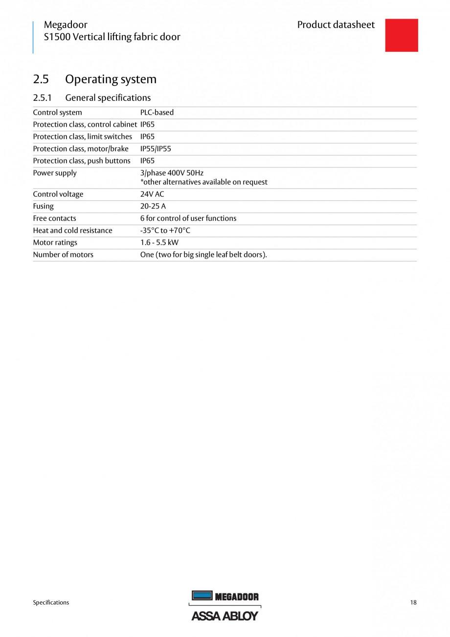 Pagina 18 - Usa industriala ASSA ABLOY Megadoor S1500 Fisa tehnica Engleza low as 45ºC. It is only ...