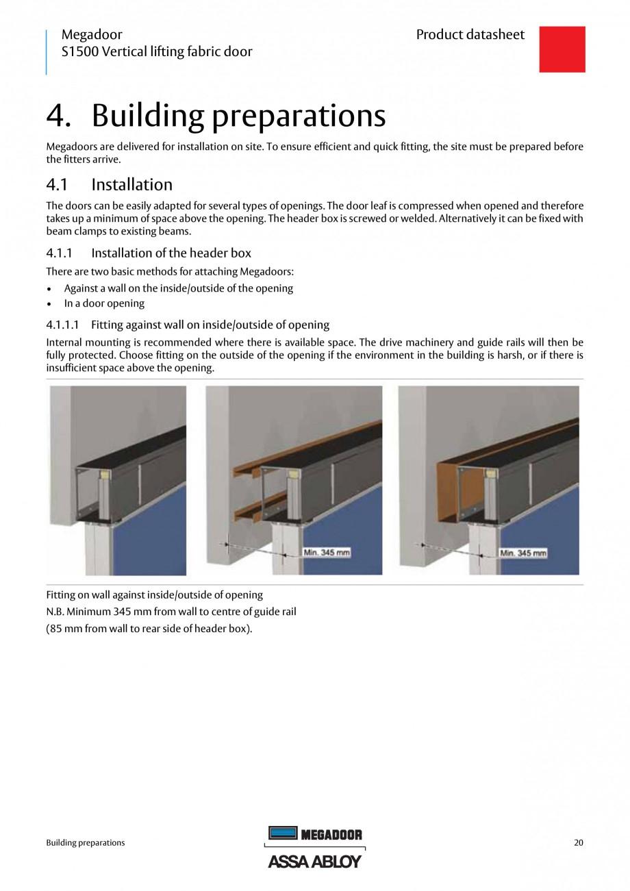 Pagina 20 - Usa industriala ASSA ABLOY Megadoor S1500 Fisa tehnica Engleza Header box 1) 2) 3) 4) ...