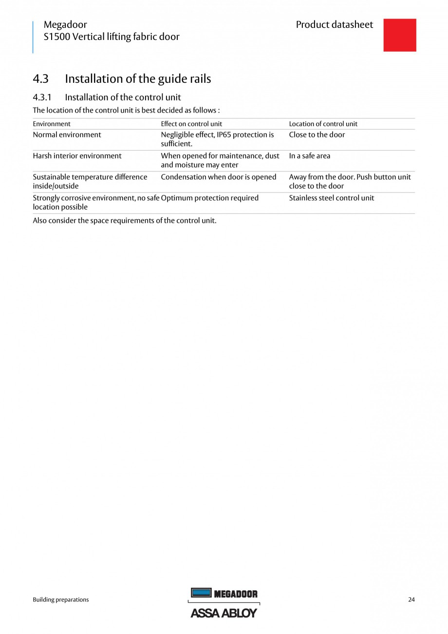 Pagina 24 - Usa industriala ASSA ABLOY Megadoor S1500 Fisa tehnica Engleza e limitations other than ...