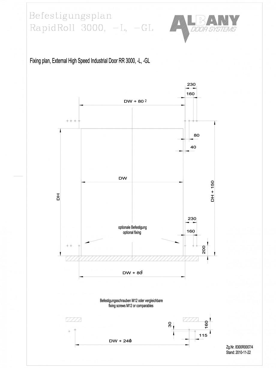 Pagina 1 - CAD-DWG Plan de fixare usi industriale rapide ASSA ABLOY Detaliu de montaj RapidRoll®...
