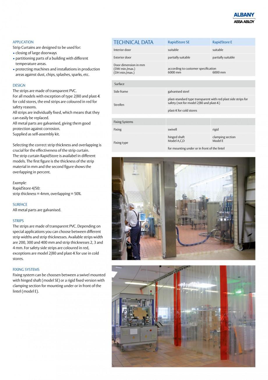 Pagina 3 - Perdea din benzi pvc ASSA ABLOY Cortine lamele Fisa tehnica Engleza  of transparent PVC. ...