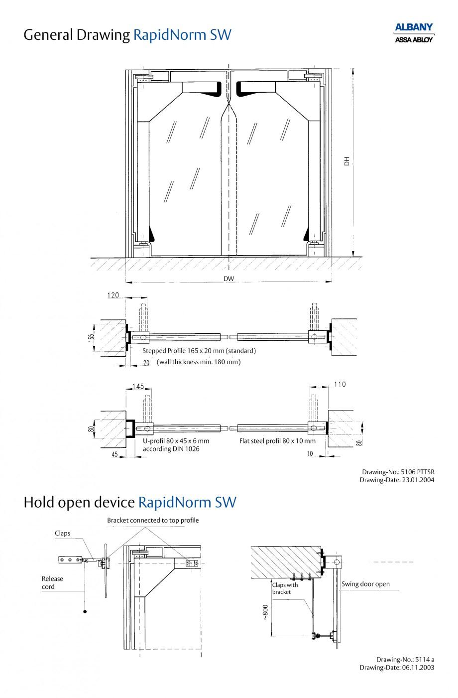 Pagina 4 - Usi batante ASSA ABLOY RapidNorm MW/SW/MWI Fisa tehnica Engleza 45 x 6 mm according DIN...