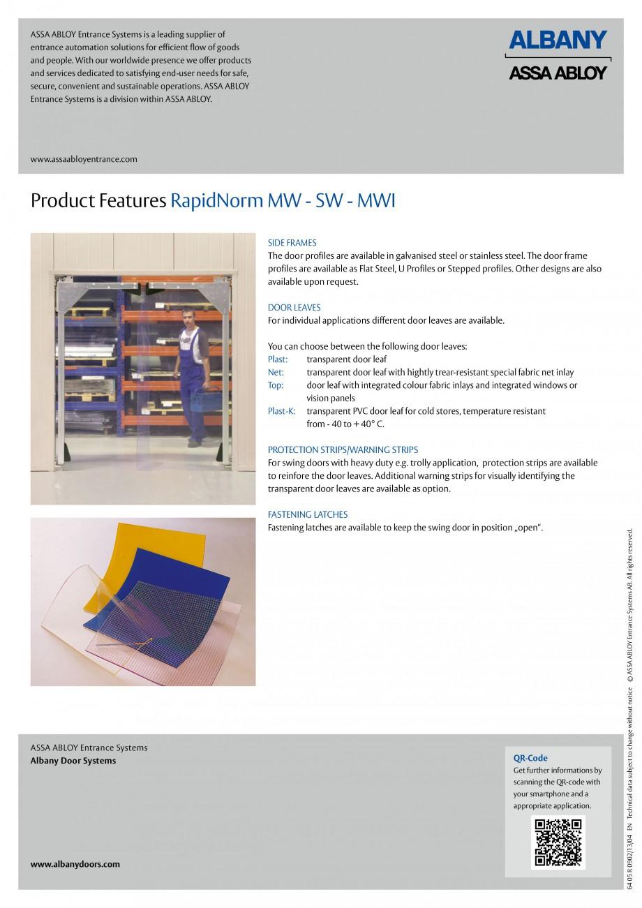 Pagina 6 - Usi batante ASSA ABLOY RapidNorm MW/SW/MWI Fisa tehnica Engleza ems AB. All rights...