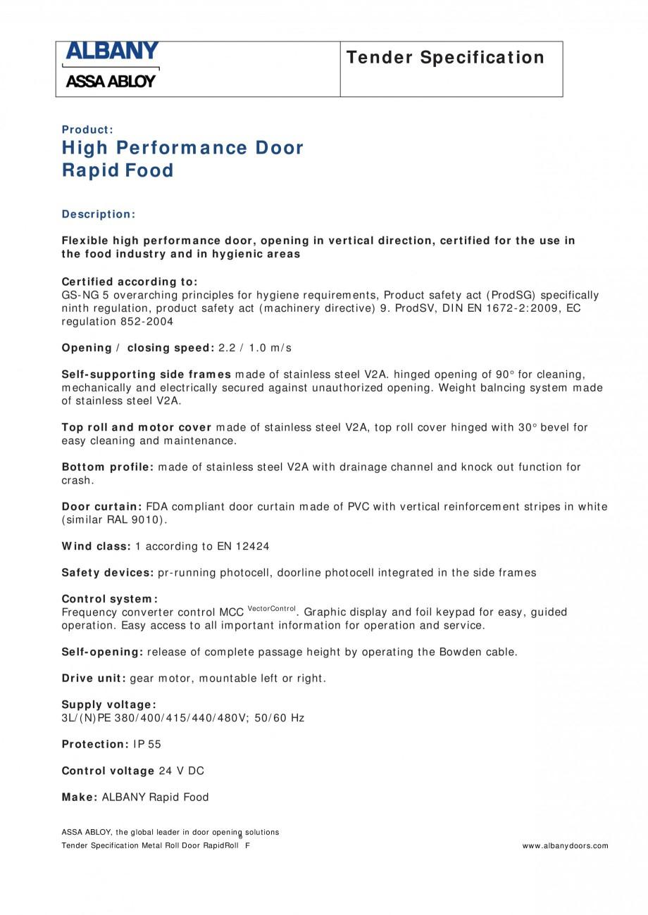 Pagina 1 - Fisa de comanda usa industriala rapida ASSA ABLOY Rapid Food Fisa tehnica Engleza Tender ...