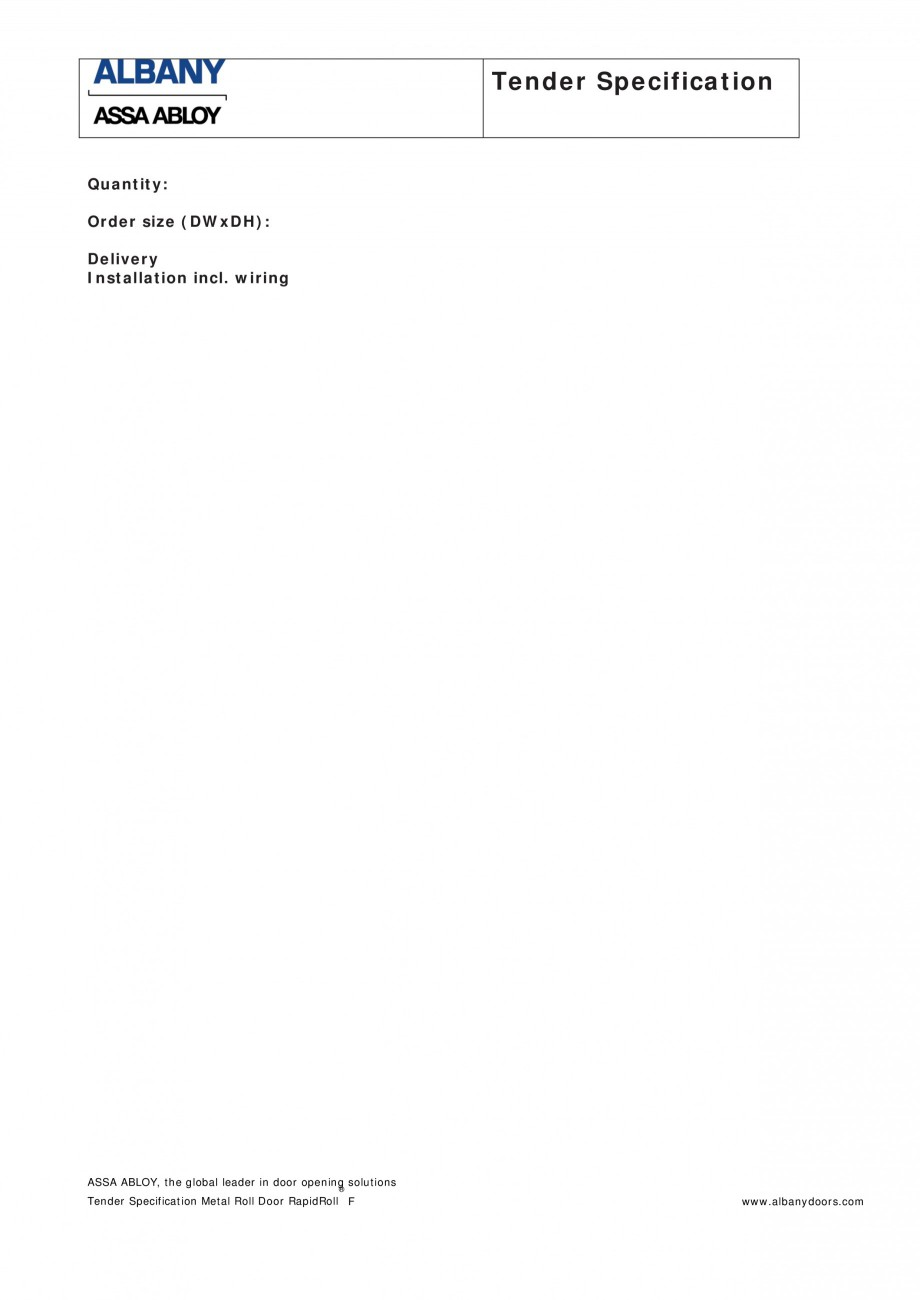 Pagina 2 - Fisa de comanda usa industriala rapida ASSA ABLOY Rapid Food Fisa tehnica Engleza t...