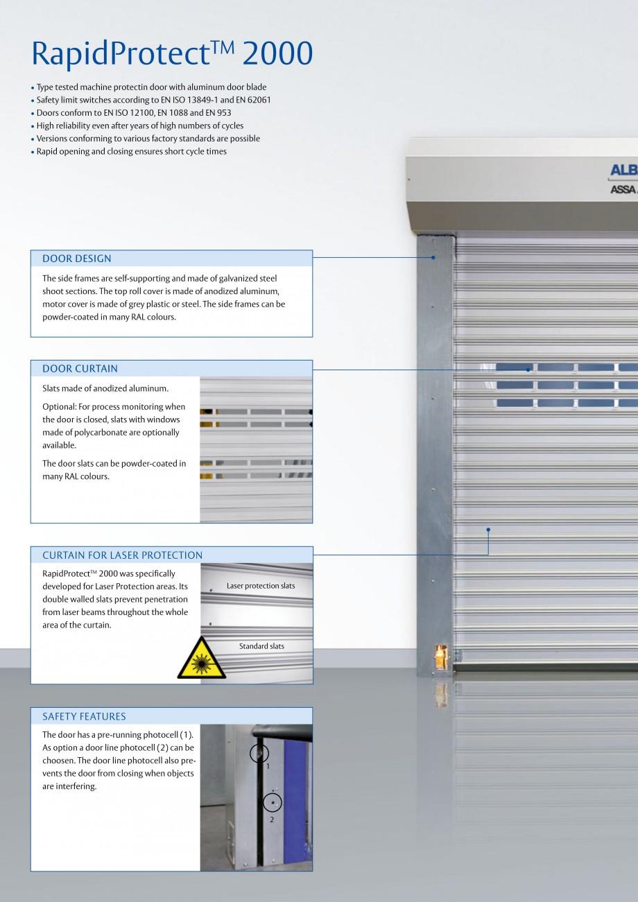 Pagina 2 - Usa industriala de inalta performanta ASSA ABLOY RapidProtectTM 2000 Fisa tehnica Engleza...