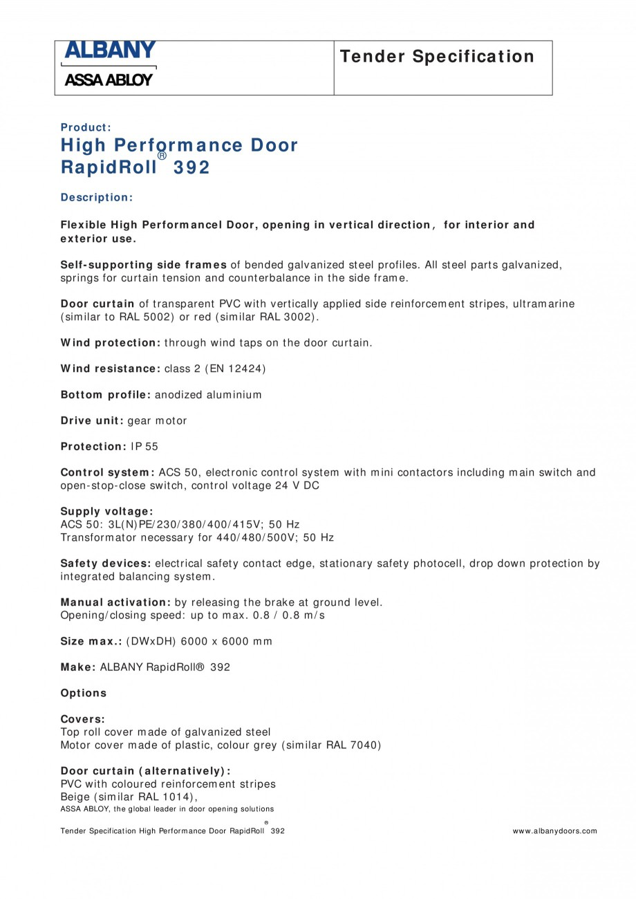 Pagina 1 - Fisa de comanda usa industriala rapida ASSA ABLOY RapidRoll® 392 Fisa tehnica Engleza...