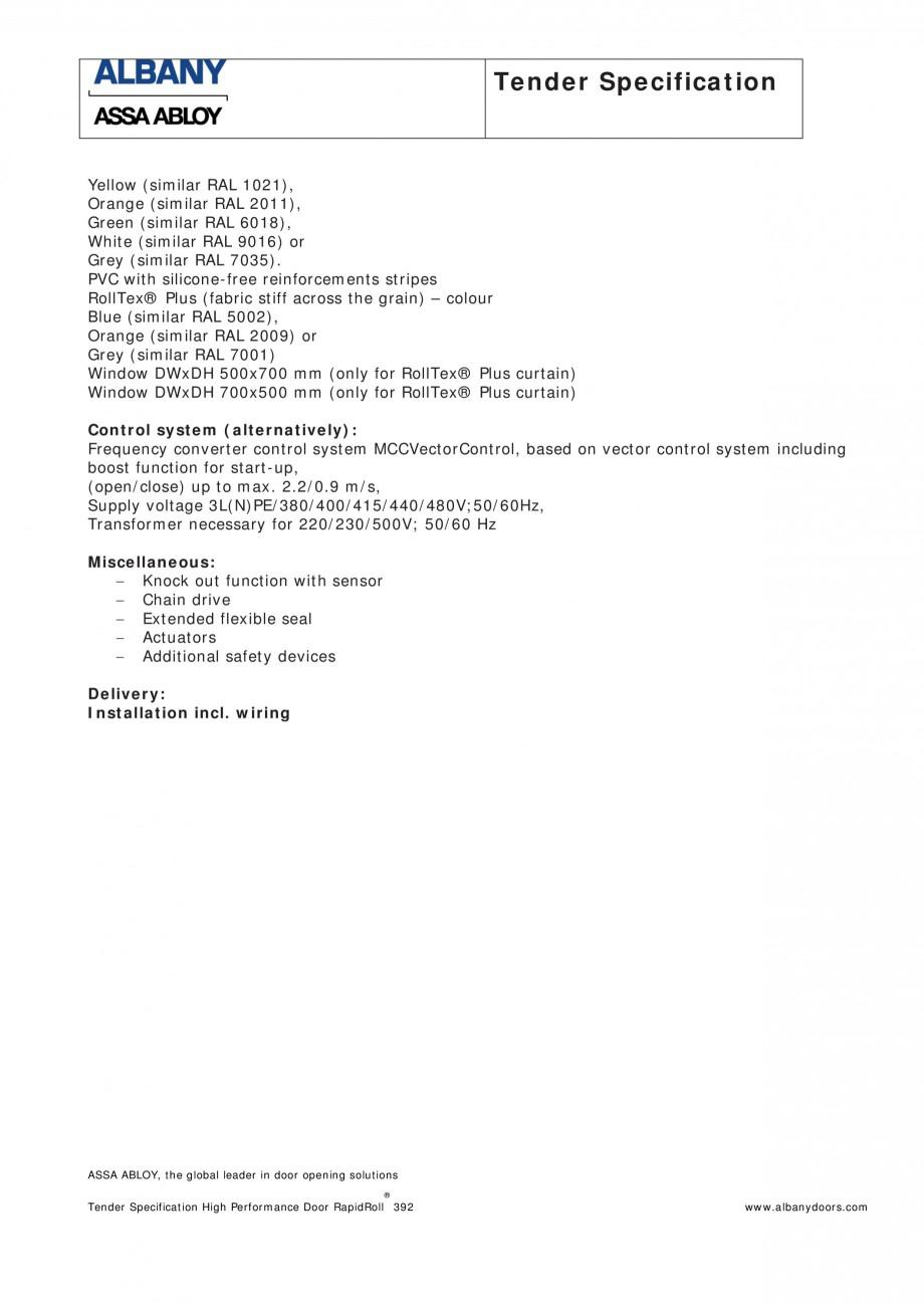 Pagina 2 - Fisa de comanda usa industriala rapida ASSA ABLOY RapidRoll® 392 Fisa tehnica Engleza...