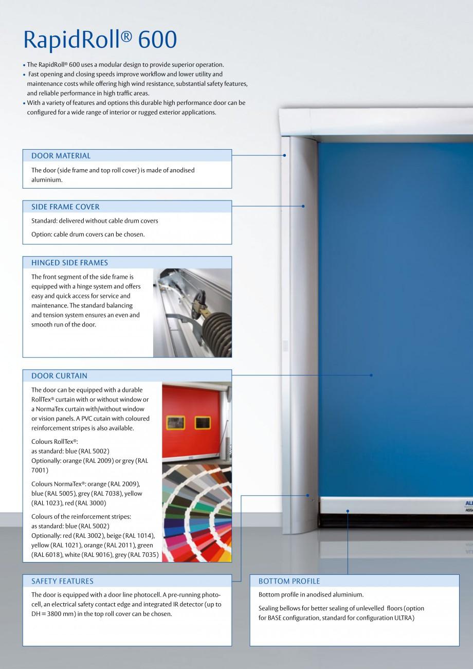Pagina 2 - Usa industriala de inalta performanta ASSA ABLOY RapidRoll® 600 Fisa tehnica Engleza ...