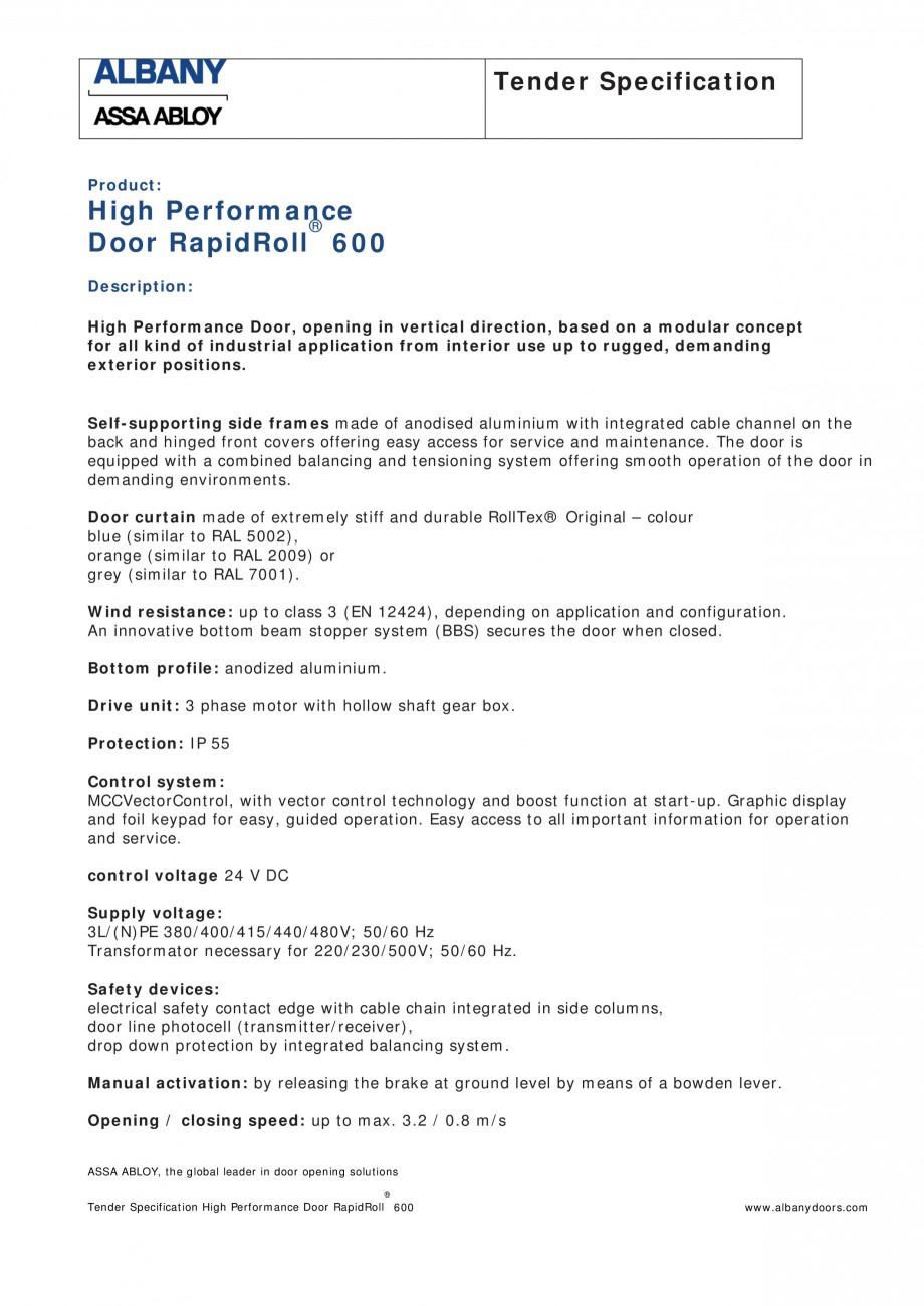 Pagina 1 - Fisa de comanda usa industriala rapida ASSA ABLOY RapidRoll® 600 Fisa tehnica Engleza...