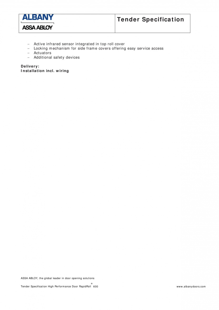 Pagina 3 - Fisa de comanda usa industriala rapida ASSA ABLOY RapidRoll® 600 Fisa tehnica Engleza...