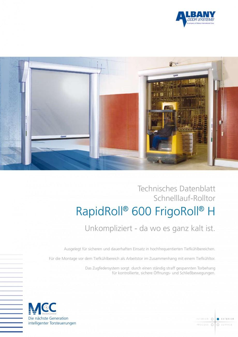 Pagina 1 - Usa industriala de inalta performanta ASSA ABLOY RapidRoll® 600 FrigoRoll Fisa...