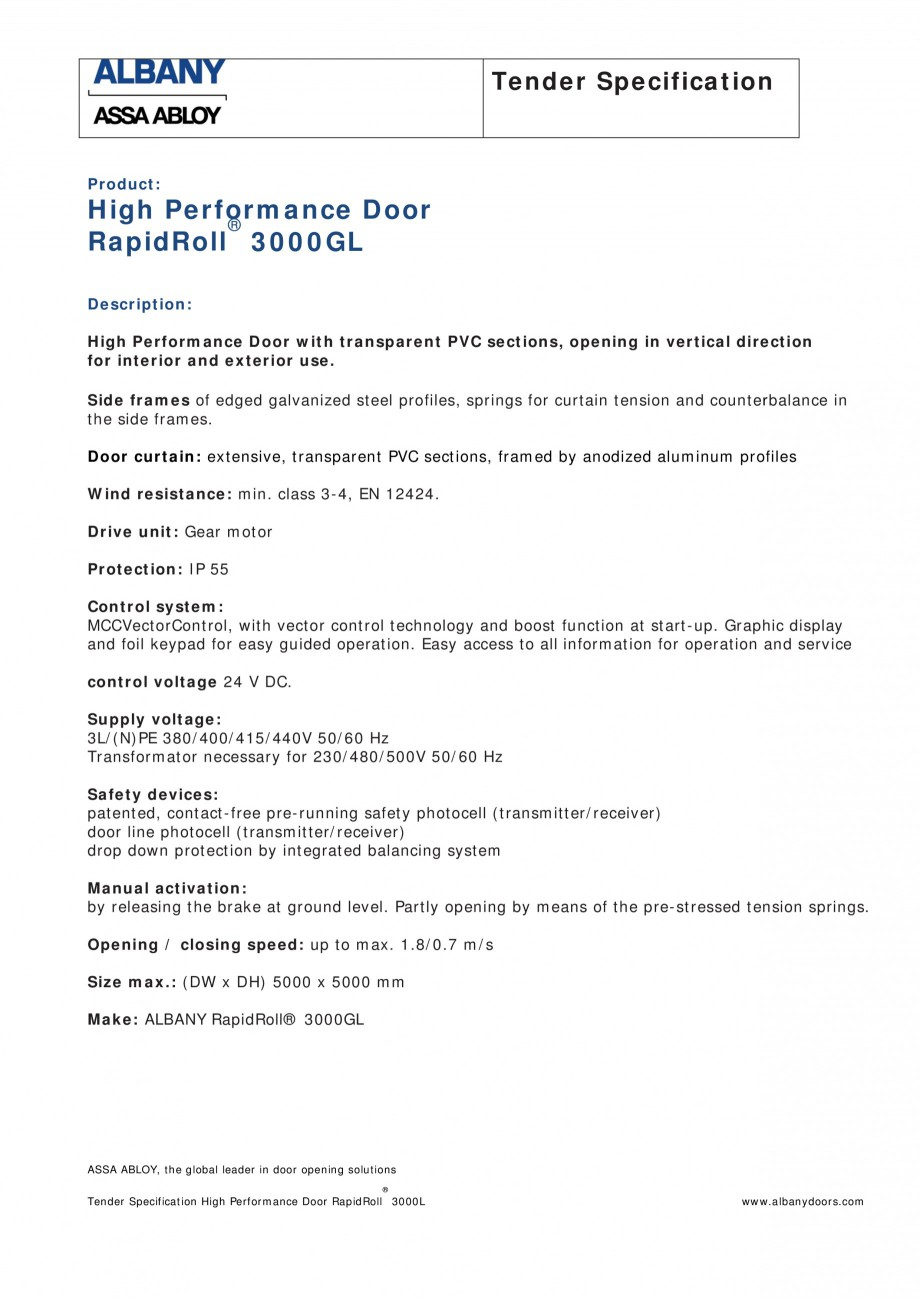 Pagina 1 - Fisa de comanda usa industriala rapida ASSA ABLOY RapidRoll® 3000 GL Fisa tehnica...