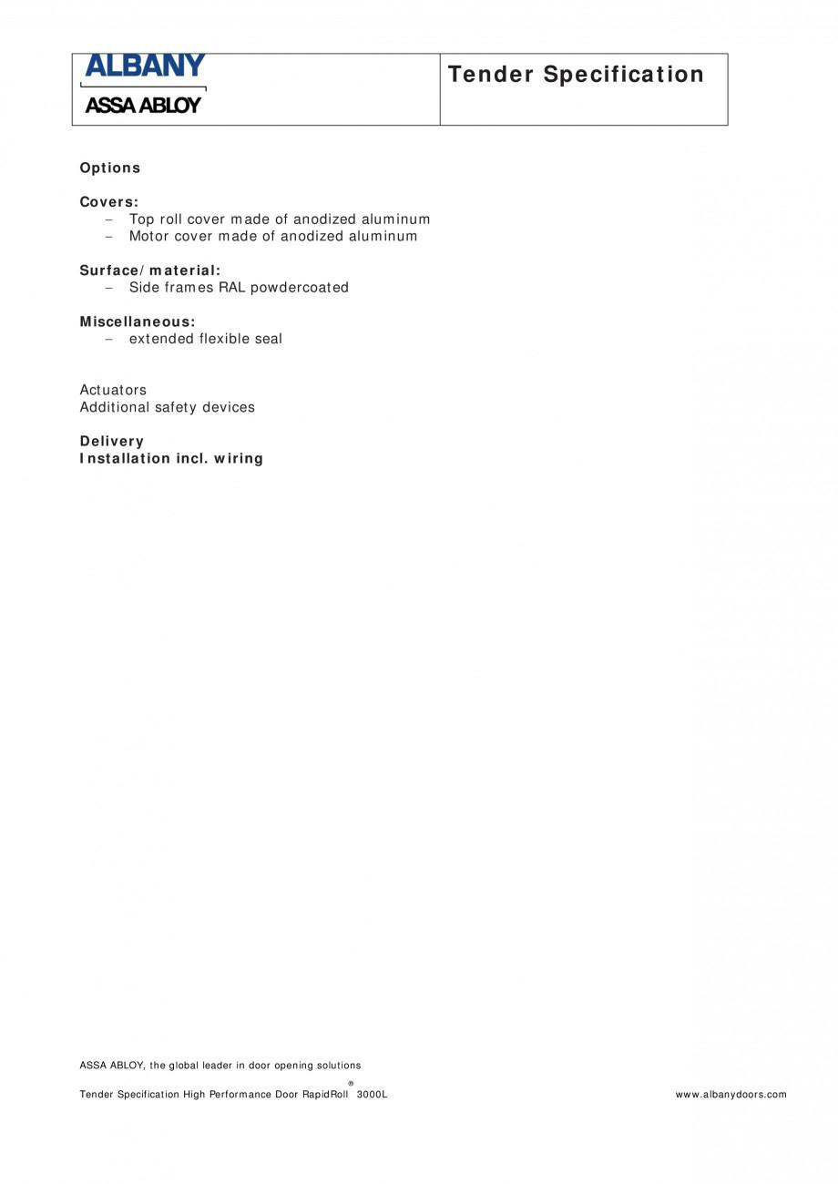 Pagina 2 - Fisa de comanda usa industriala rapida ASSA ABLOY RapidRoll® 3000 GL Fisa tehnica...