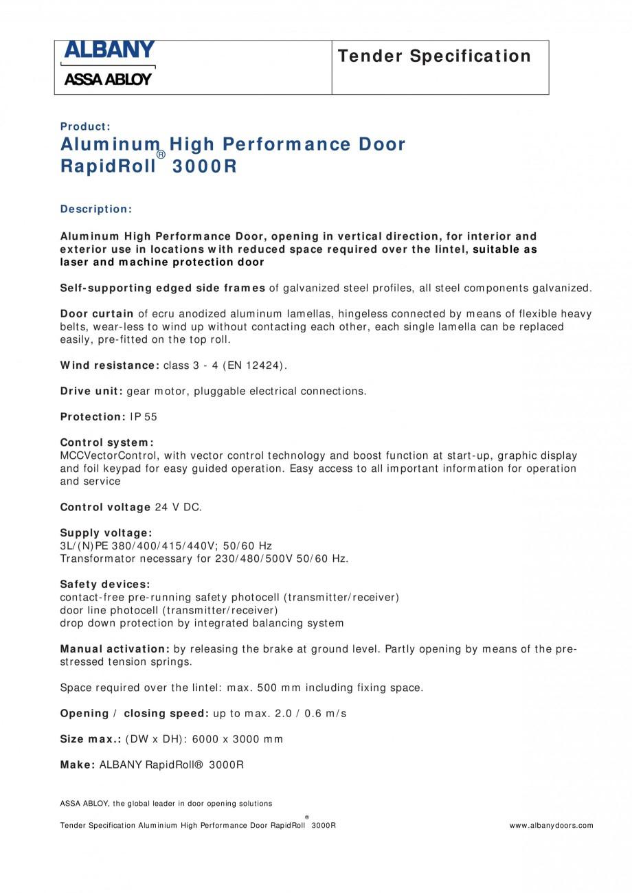 Pagina 1 - Fisa de comanda usa industriala rapida ASSA ABLOY RapidRoll® 3000 R Fisa tehnica...