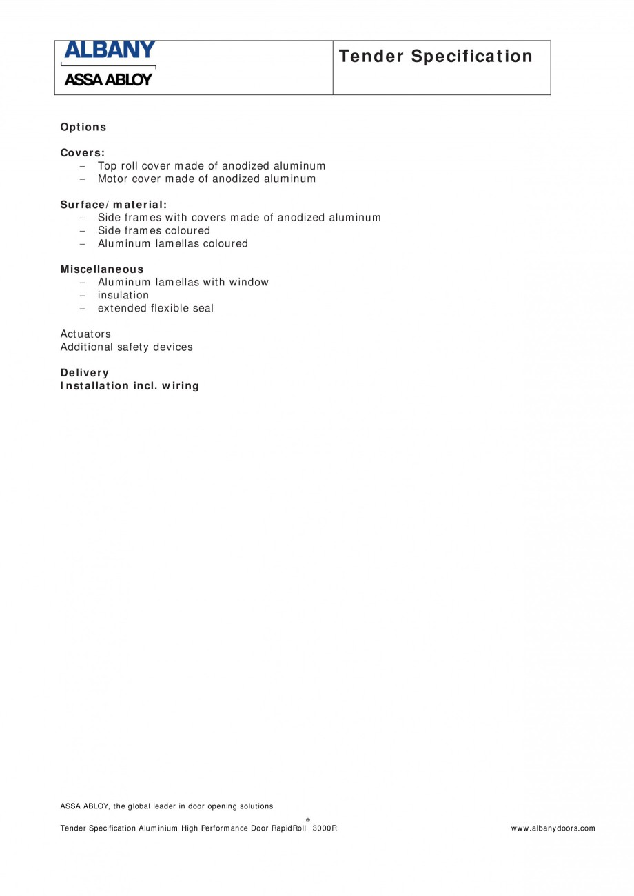 Pagina 2 - Fisa de comanda usa industriala rapida ASSA ABLOY RapidRoll® 3000 R Fisa tehnica...