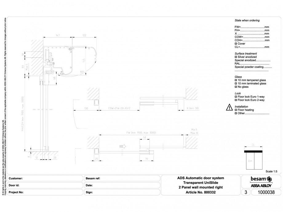 Pagina 1 - CAD-DWG Usa automata transparenta 2 - montare pe perete dreapta ASSA ABLOY Detaliu de...