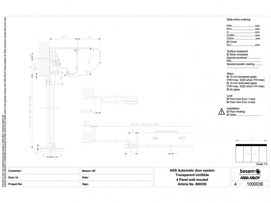 Pagina 1 - CAD-DWG Usa automata transparenta 4 - montare pe perete ASSA ABLOY Detaliu de montaj...