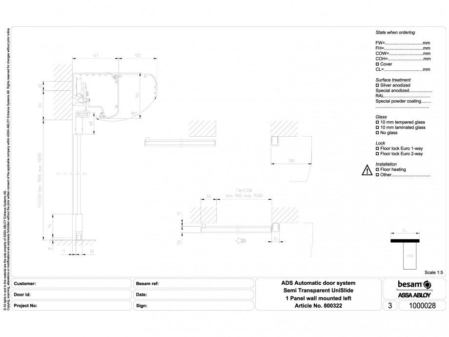 Pagina 1 - CAD-DWG Usa automata semi-transparenta 1 - montare pe perete stanga ASSA ABLOY Detaliu de...